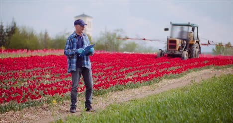 Farmer-Working-On-Agricultural-Field-Writing-On-Clipboard-Tractor-Spraying-Tulips-With-Herbicides-