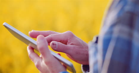 Agriulture-Farmer-Using-Digital-Tablet-Computer-Against-Yellow-Rapeseed-Field-At-Farm-2