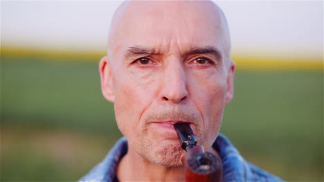 Contented-Bald-Farmer-Smoking-His-Pipe-On-Field-3