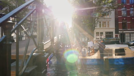 Boat-Passes-Under-Bridge-in-Amsterdam