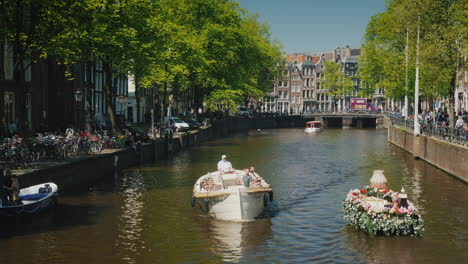 Boat-Decorated-With-Flowers-On-Amsterdam-Canal