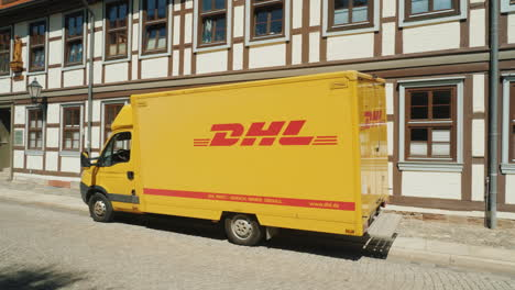 DHL-Van-in-Traditional-German-Street