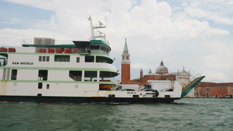 Ferry-Transports-Cars-On-Venice-Grand-Canal