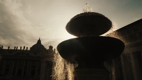 Backlit-Fountain-by-St-Peter-s-Basilica-Rome