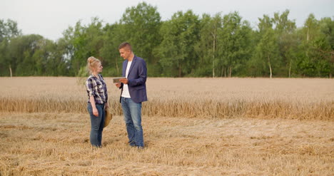 Agriculture-Female-And-Male-Farmers-Talking-At-Wheat-Field-During-Harvesting-1
