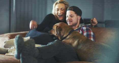 Lifestyle-Couple-Playing-With-Dog-