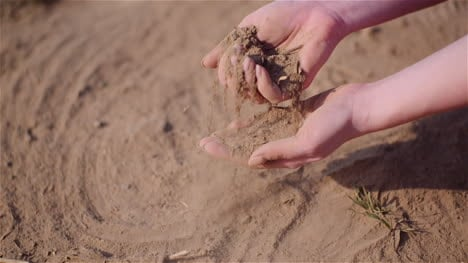 Farmer-Touching-Dirt-In-Hands-Pouring-Organic-Soil-2
