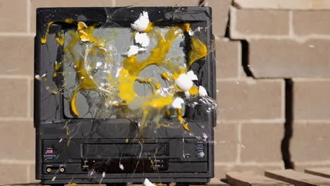Eggs-Thrown-at-Old-TV