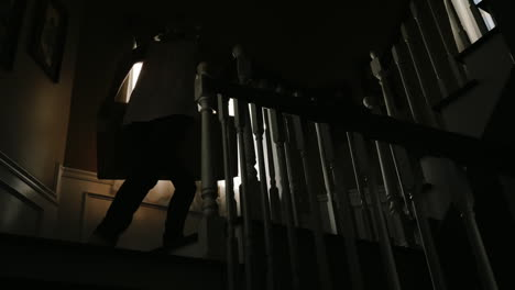 Silhouetted-Woman-Carries-Box-Upstairs