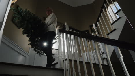 Woman-Carries-A-Christmas-Tree-Downstairs