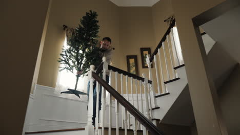 Man-Carries-A-Christmas-Tree-Downstairs
