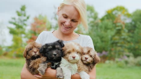 Happy-Woman-Holding-Puppies