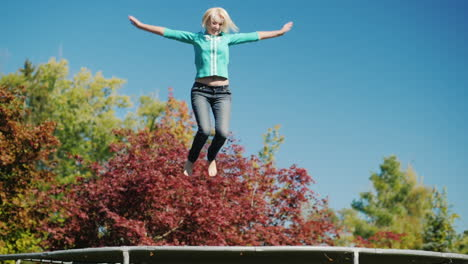 Middle-Aged-Woman-Jumps-on-Trampoline