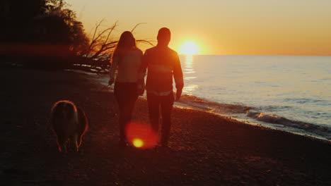 Young-Couple-Walking-a-Dog-at-Sunset