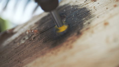 Drilling-Hole-Onto-Wood-Slowmotion-