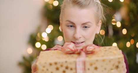 Woman-Admiring-Her-Christmas-Present-At-Home