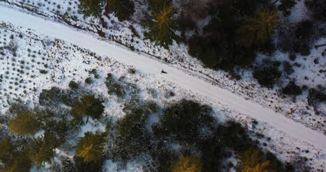 Aerial-Shot-Of-Woman-Playing-On-Snow-2