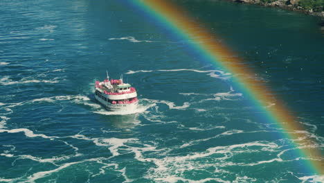 Niagara-Tour-Boat-Passes-Under-Rainbow