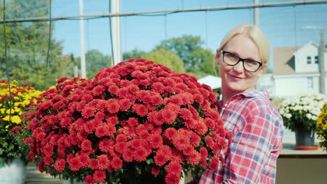 Woman-With-Red-Chrysanthemums