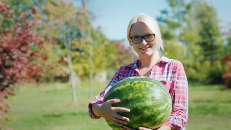 Happy-Woman-With-Large-Watermelon