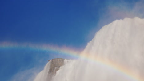 Niagara-Falls-And-Rainbow-Against-Blue-Sky