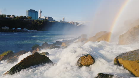 Rocks-at-Foot-of-Niagara-Falls-With-Cityscape