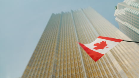 Canadian-Flag-and-Toronto-Skyscraper