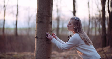 Woman-Uses-A-Stethoscope-And-Examines-A-Tree-In-The-Forest-1