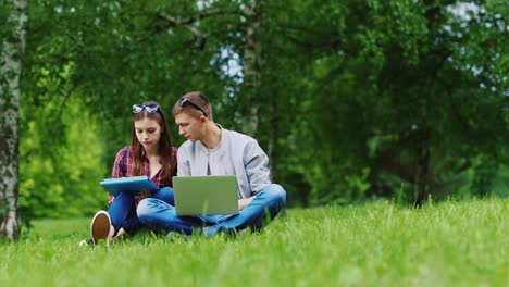 Young-Man-And-Woman-Working-Together-On-A-Laptop-And-A-Tablet-Sitting-On-The-Grass-In-The-Park-Hd-Vi