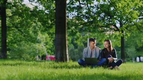 Young-Cute-Couple-Enjoying-A-Laptop-Sitting-On-The-Grass-In-The-Park-Under-A-Tree-Hd-Video