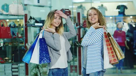 Two-Attractive-Women-Posing-Model-Looks-At-The-Camera-With-Shopping-Bags-It-Is-Against-The-Backgroun