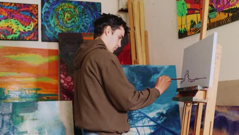 Cute-Artist-Draws-A-Picture-In-The-Studio-The-Painting-American-Rural-Landscape
