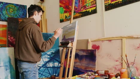 The-Young-Artist-Draws-A-Picture-Paints-The-Picture-Rural-Landscape---A-Barn-And-Field