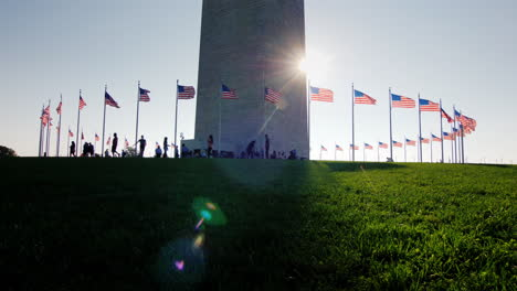 Flags-and-Visitors-at-Base-of-Washington-Monument