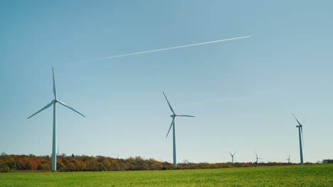 Jet-Trail-Over-Wind-Turbines