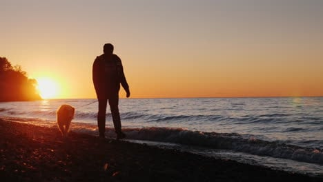 Man-Walks-Dog-on-Beach-at-Sunset