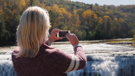 Woman-Photographs-Genesee-River-Waterfall