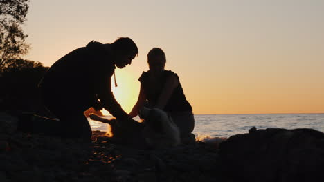 Man-and-Woman-Playing-With-Dog-at-Sunset