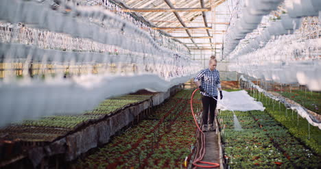 Agriculture-Business-Smiling-Gardener-Watering-Flowers-In-Greenhouse