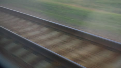The-Railway-Line-Is-Moving-Fast-The-View-From-The-Traveling-Train-4k-Video
