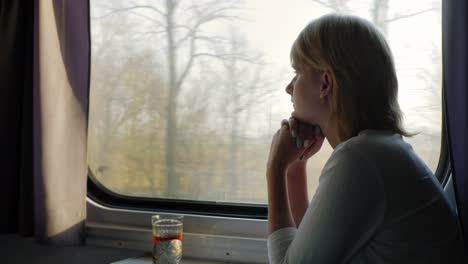A-Comfortable-Trip-A-Young-Woman-Is-Traveling-On-A-Train-Beside-Her-There-Is-A-Cup-Of-Tea-In-A-Cup-H
