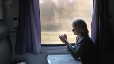 Business-Woman-Uses-A-Smartphone-Travels-In-A-Train-Compartment-4k-Video
