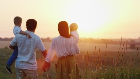One-Big-Happy-Family-At-Dawn-Greeted-The-Sun-Concept---Hope-Faith-And-Optimism