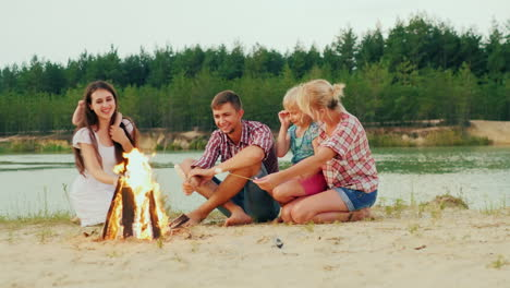 Large-Group-Three-Adults-And-Two-Children-Relax-By-The-Fire-Roast-Marshmallows-On-Sticks-A-Good-Time
