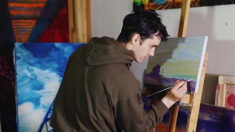 Somebody-Is-Painting-Some-Picture-With-Paintbrush-Woman-On-Canvas