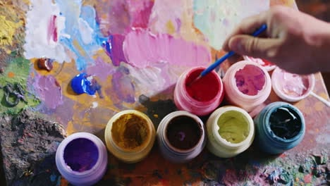 Choosing-The-Right-Shade-Artist-Dip-The-Brush-Into-The-Paint-And-Picks-Up-A-Shade-In-The-Palette