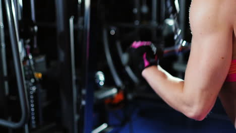 Athletic-Woman-Trains-Muscles-Of-The-Hands-Can-Be-Seen-Working-The-Triceps-And-Muscular-Shoulders-Fe