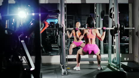 Athletic-Woman-Squats-With-A-Barbell-Motivation-In-Sport