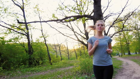 Beautiful-Woman-In-T-Shirt-Makes-A-Run-In-The-Spring-Forest-Steadicam-Shot