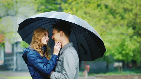 Stylish-Young-Couple-Embracing-Under-An-Umbrella-It-s-Raining-Hd-Video